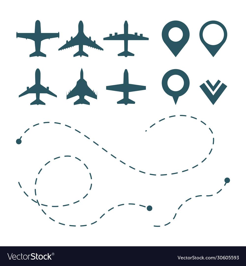 Airplane symbols avia transport pictograms route