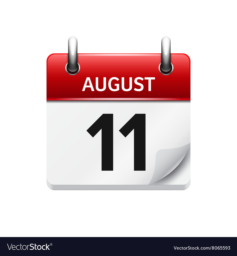 august 11 flat daily calendar icon date royalty free vector
