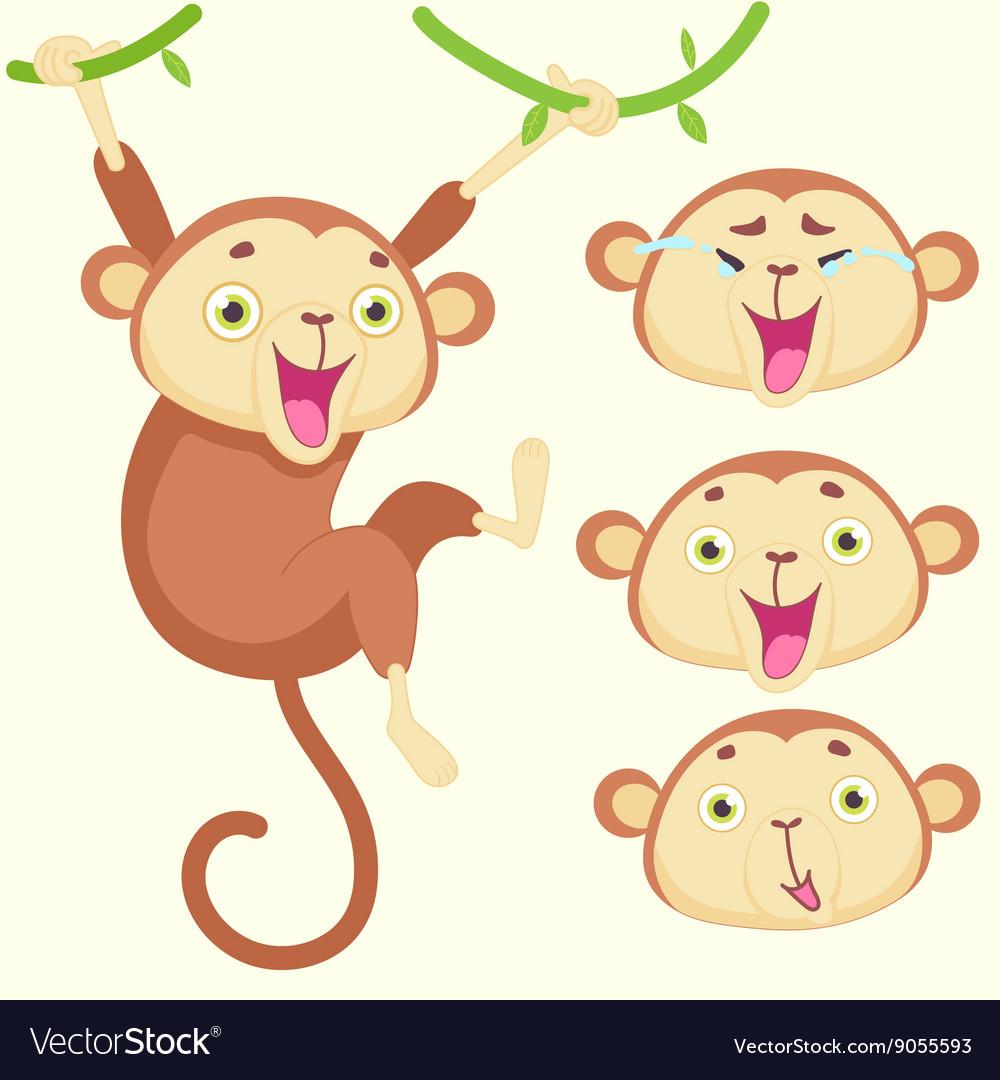 Cartoon monkey with emotions