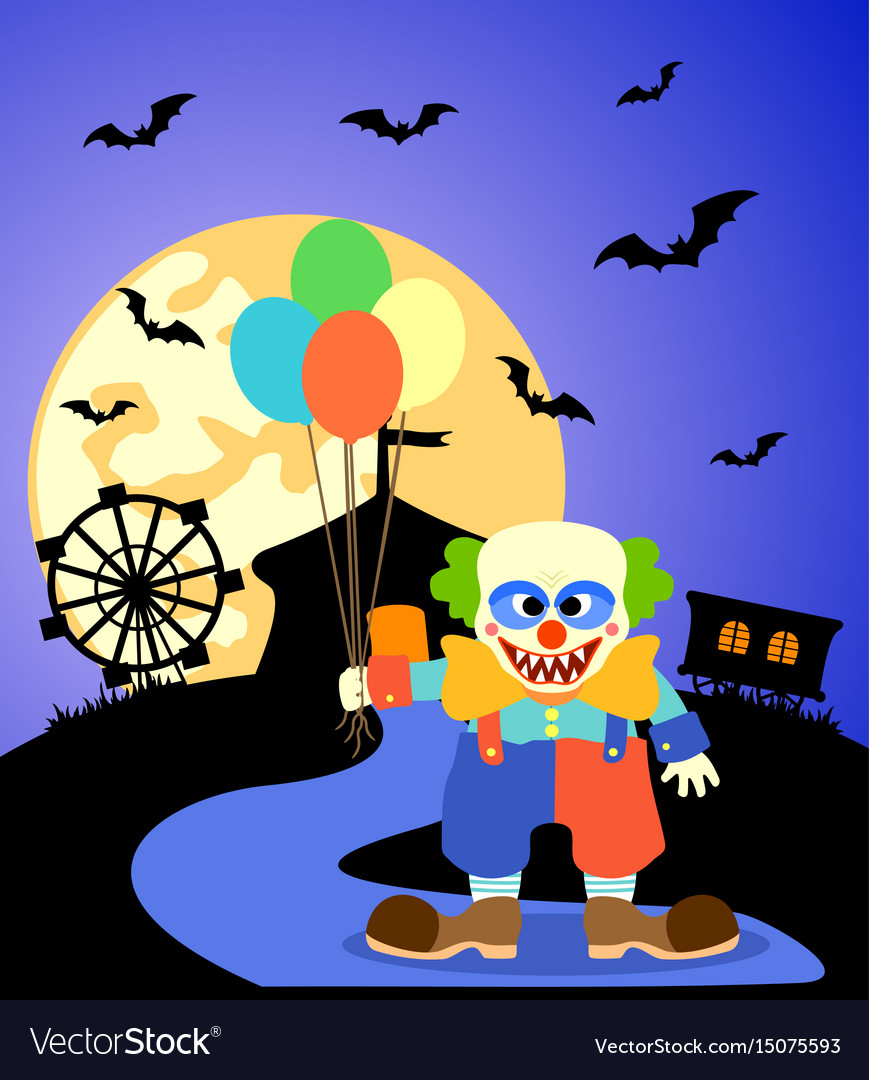 Halloween background with clown and full moon