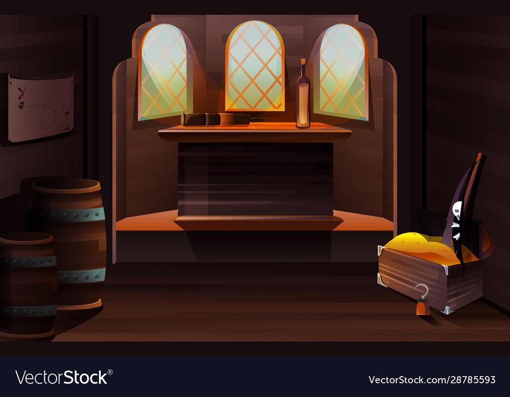 Interior captain cabin on pirate ship