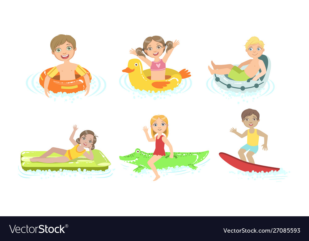Kids floating on inflatable toys in pool children