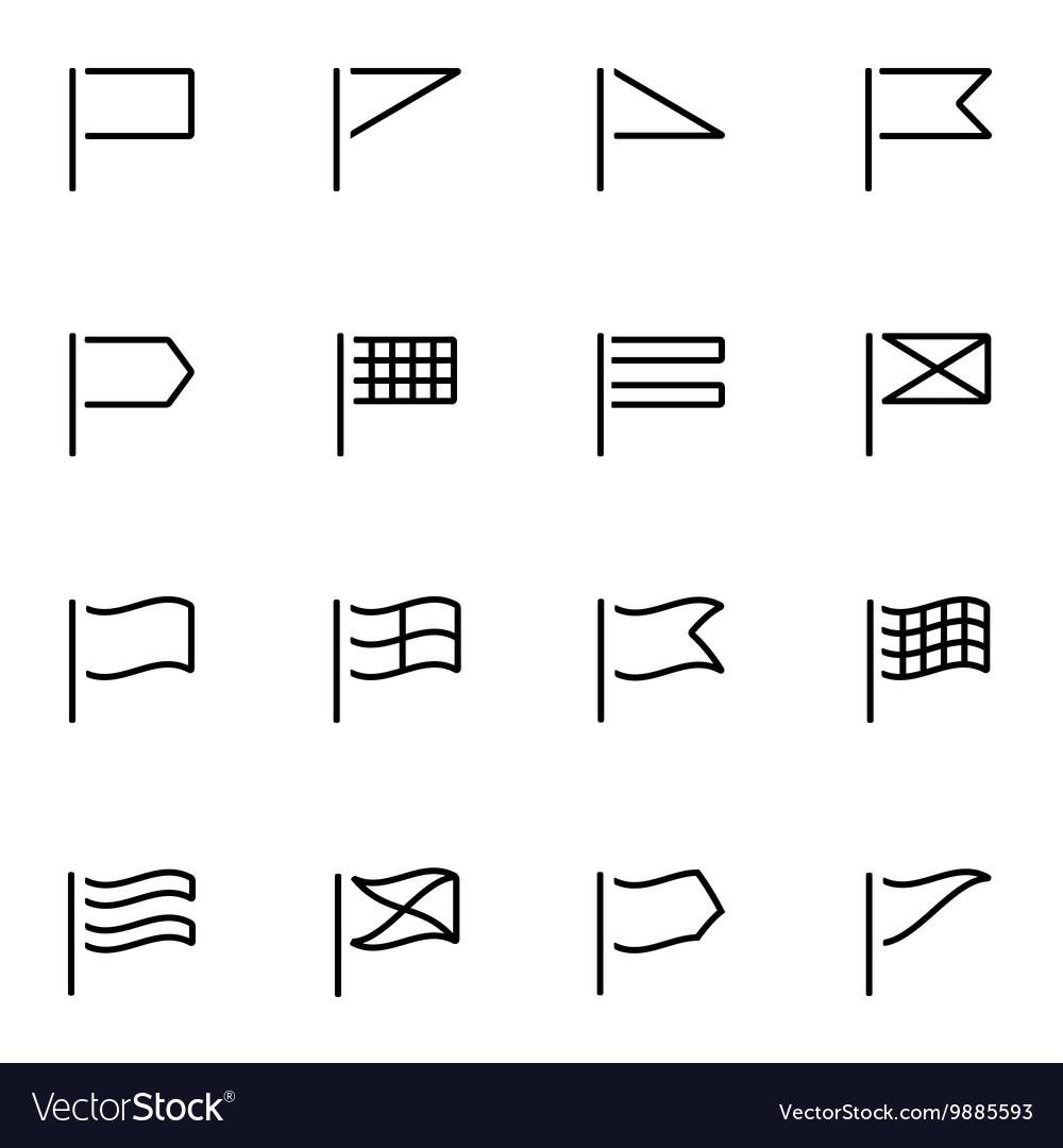 Line flags icon set