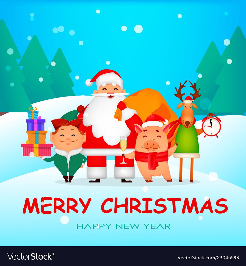 Santa claus santa helper elf deer piggy