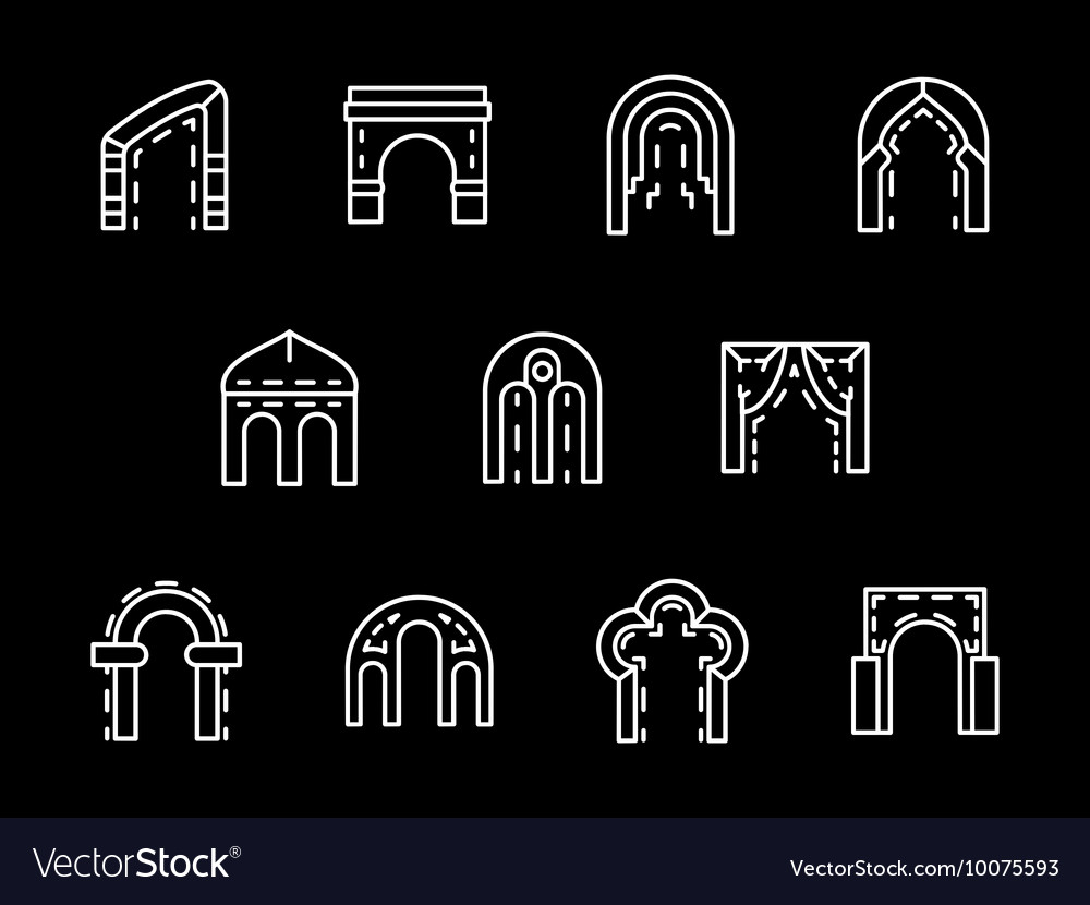 Set of archway styles white line icons