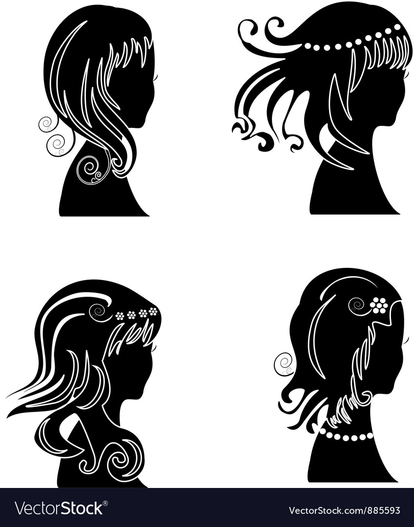 Set of women with beauty hair
