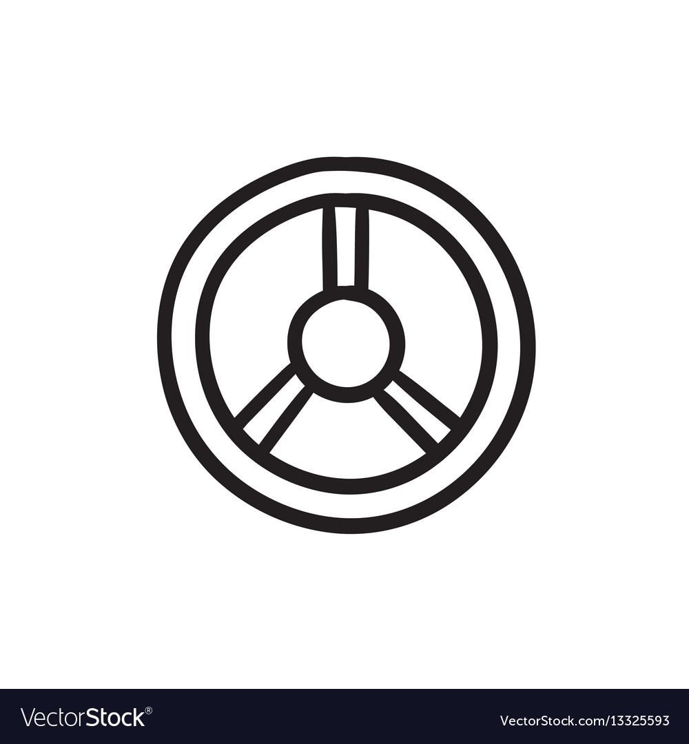 Steering wheel sketch icon