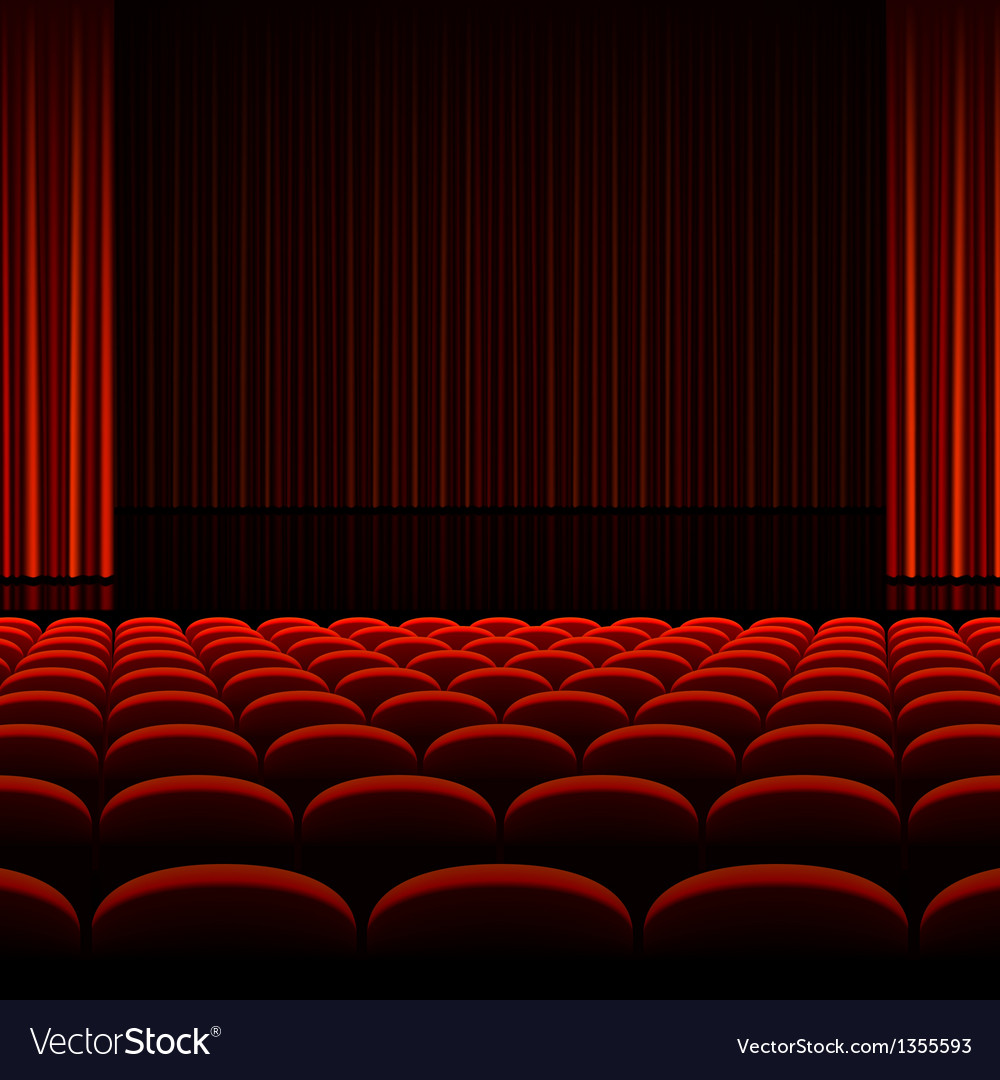 Theater interior with red curtains and seats vector image