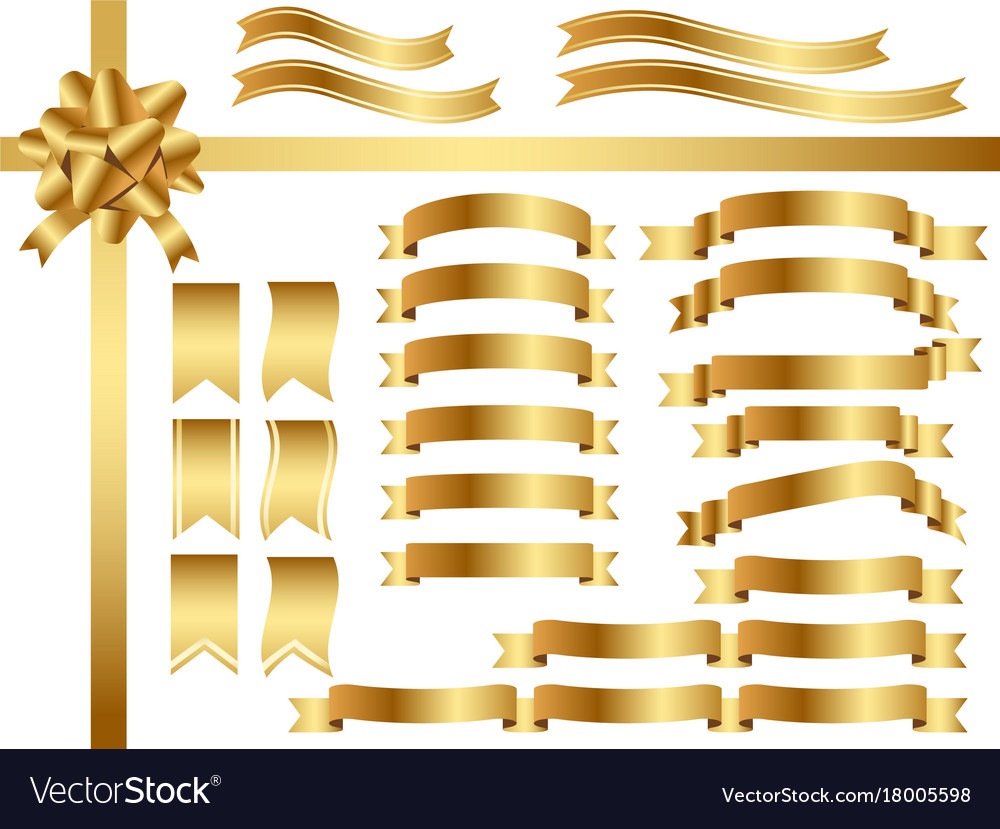 A set assorted gold ribbons