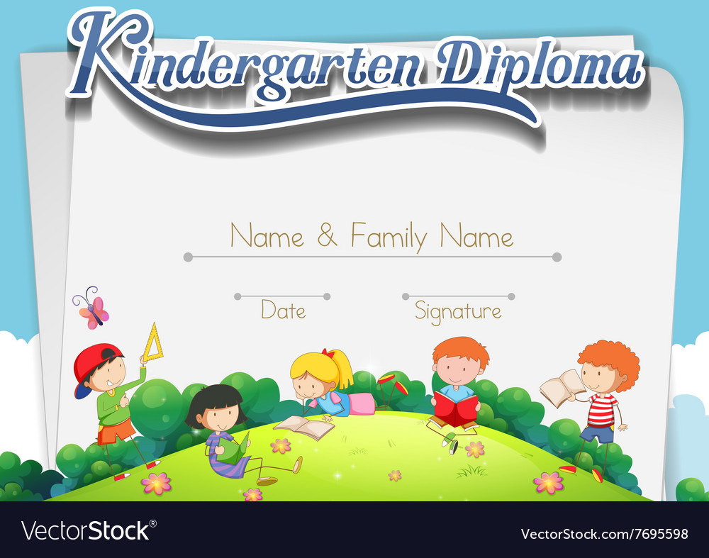 certification template with children in the park vector image