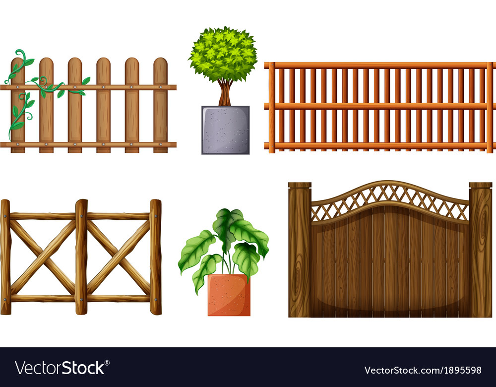 Different Design Of Wooden Fences Royalty Free Vector Image