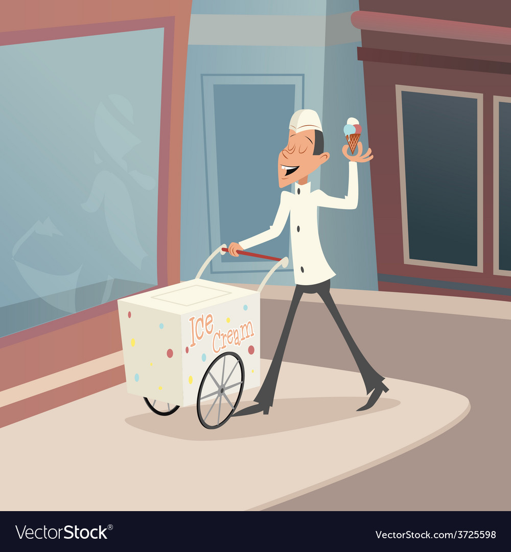 Happy Smiling Ice Cream Seller with Cart on street
