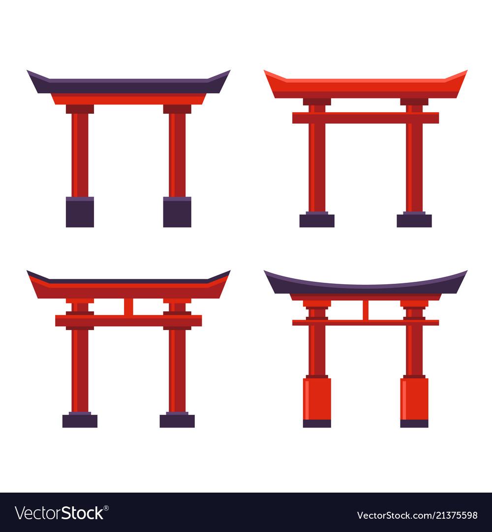 Japanese gate icons set on white background