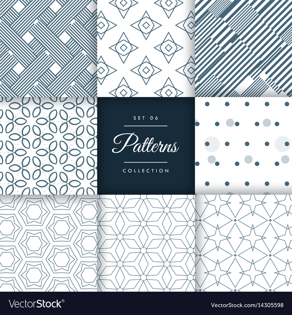 Minimal style patterns pack set in different vector image