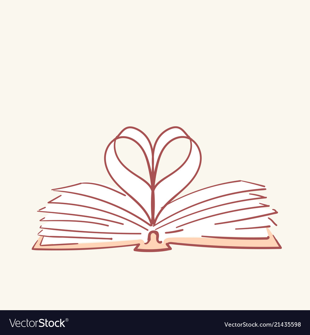 Opened book heart love hand drawn style