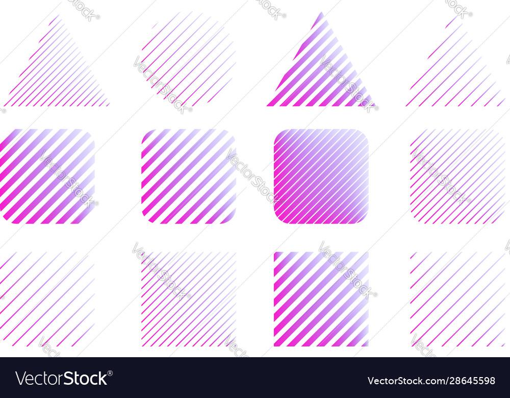 Set abstract modern line shapes design element