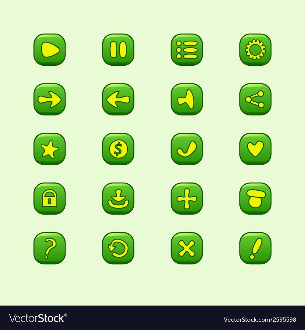 Set mobile green elements for ui game design