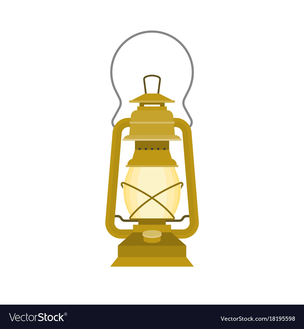 Vintage kerosene glass lamp flat design vector image