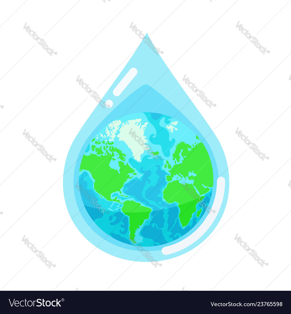 Water droplet with the earth globe inside