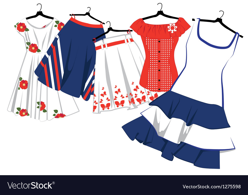 d45a7325617 Womens clothes on hangers Royalty Free Vector Image