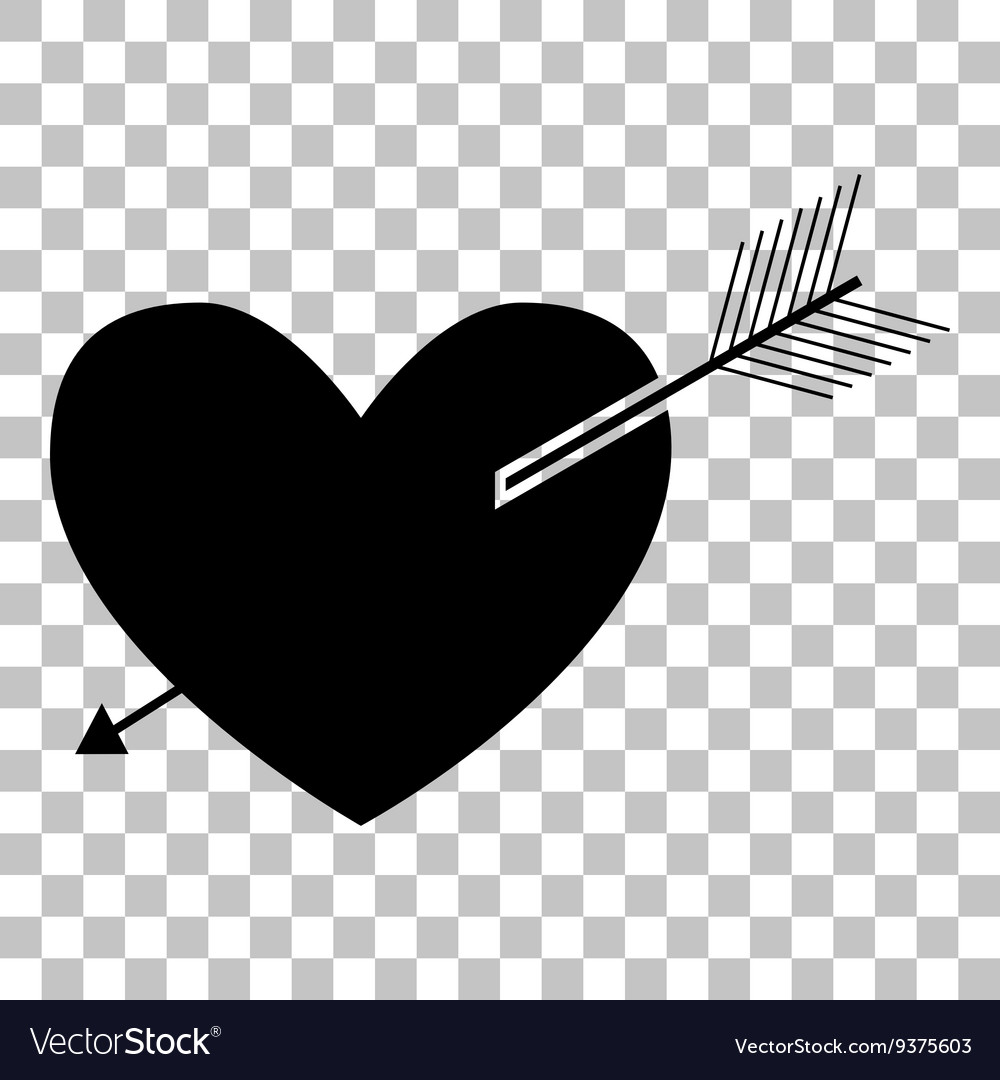 Arrow heart sign Flat style black icon on