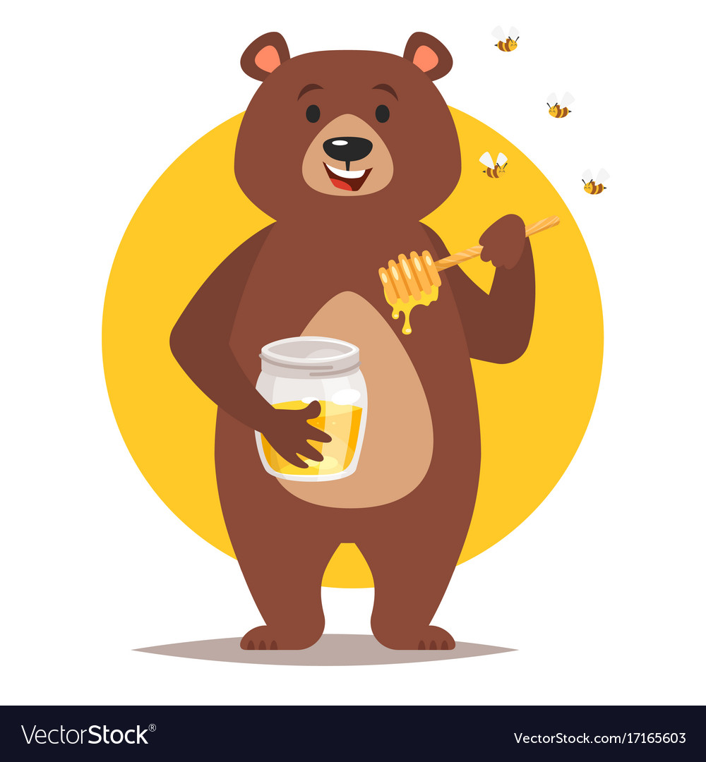 Bear Character Eating Honey Royalty Free Vector Image