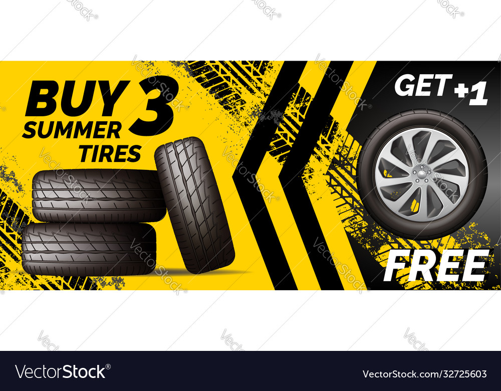 Car tires shop banner with discount offer yellow