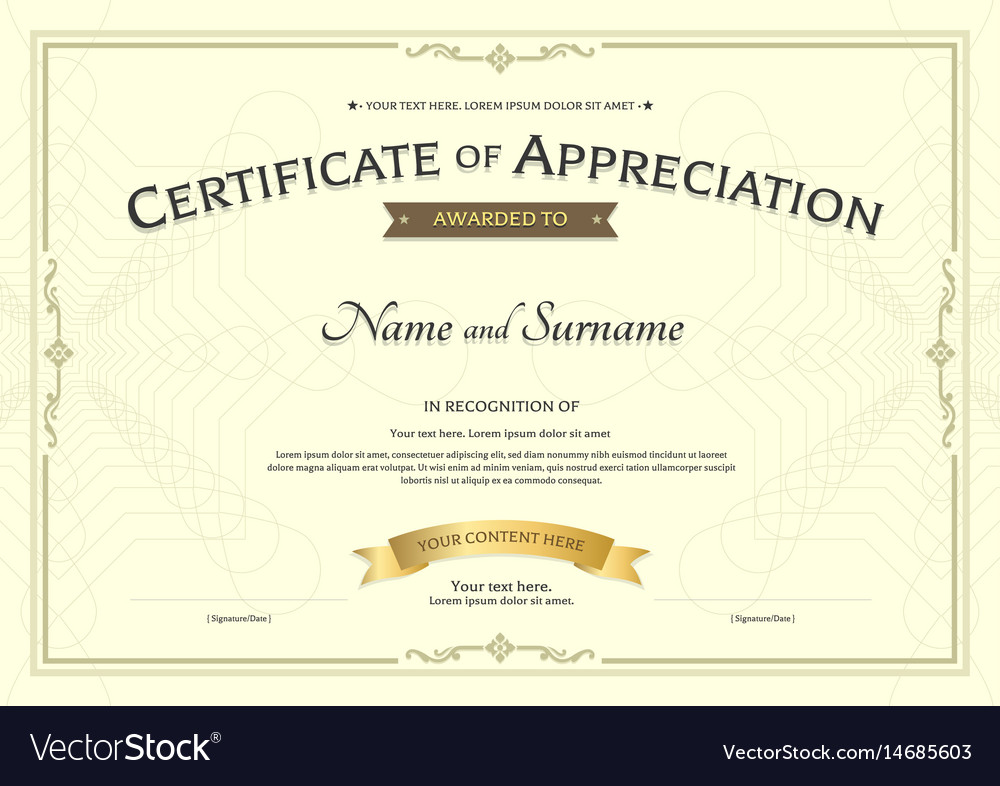 Certificate Of Appreciation Template With Award Vector Image