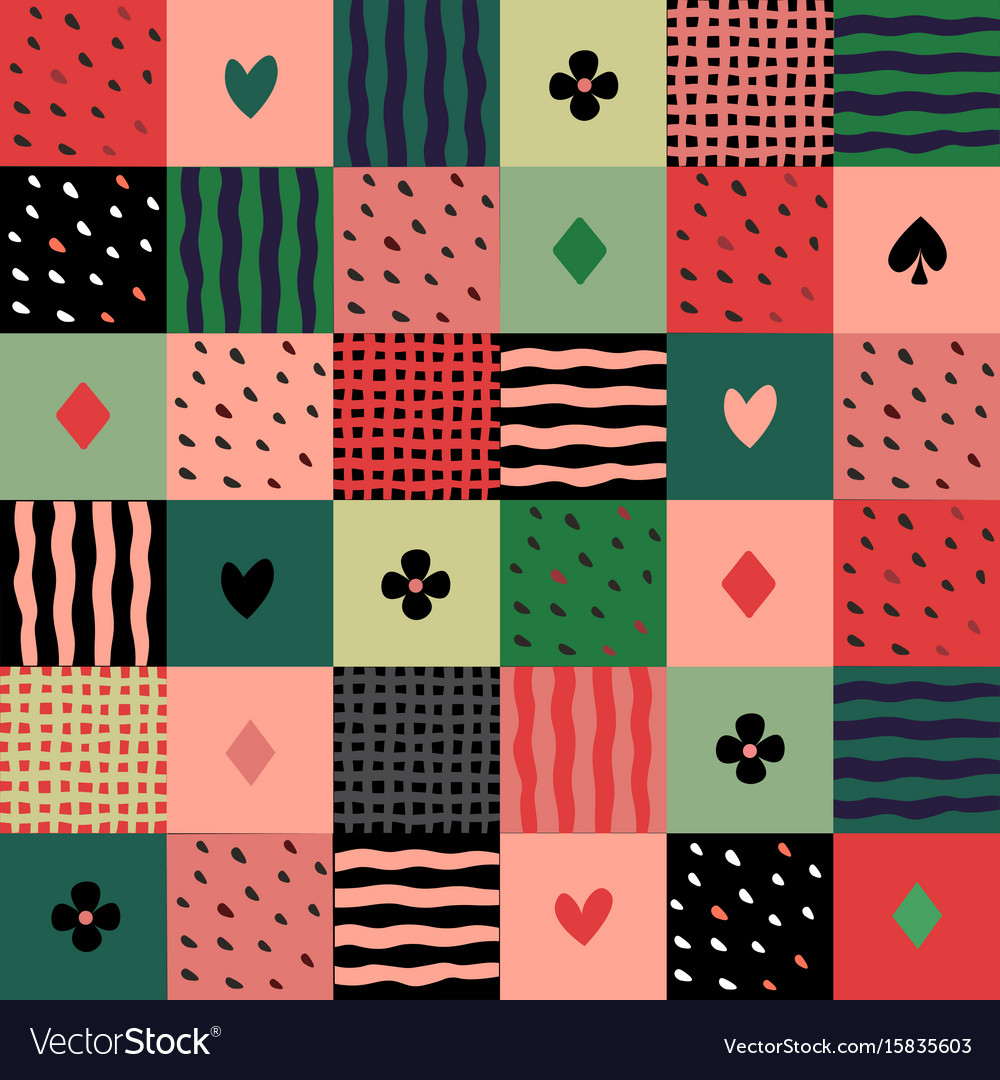 Colorful patchwork seamless pattern vector image