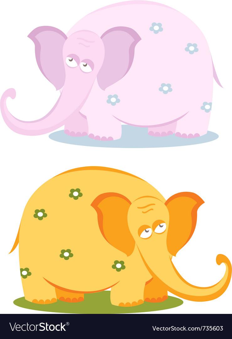 Funny pink elephants vector image