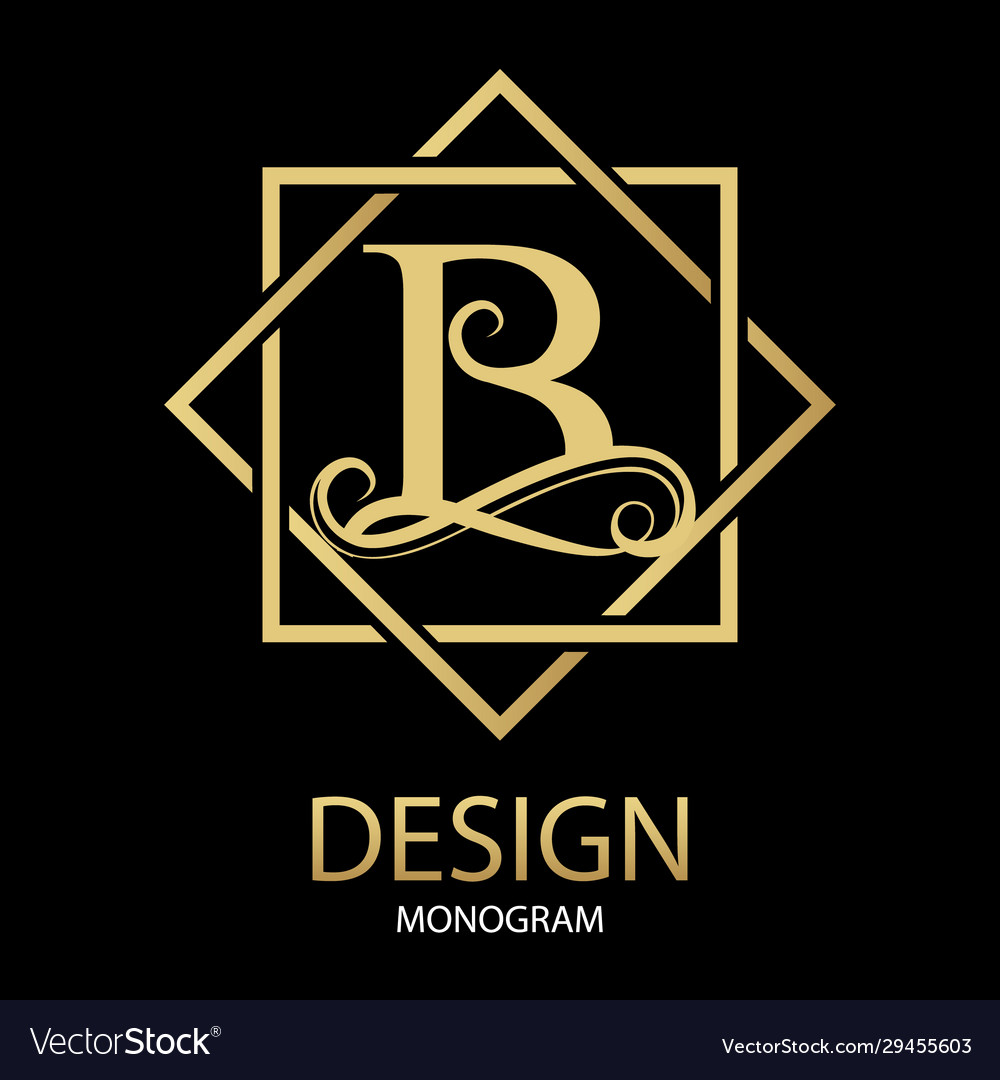 Golden letter b monogram on black