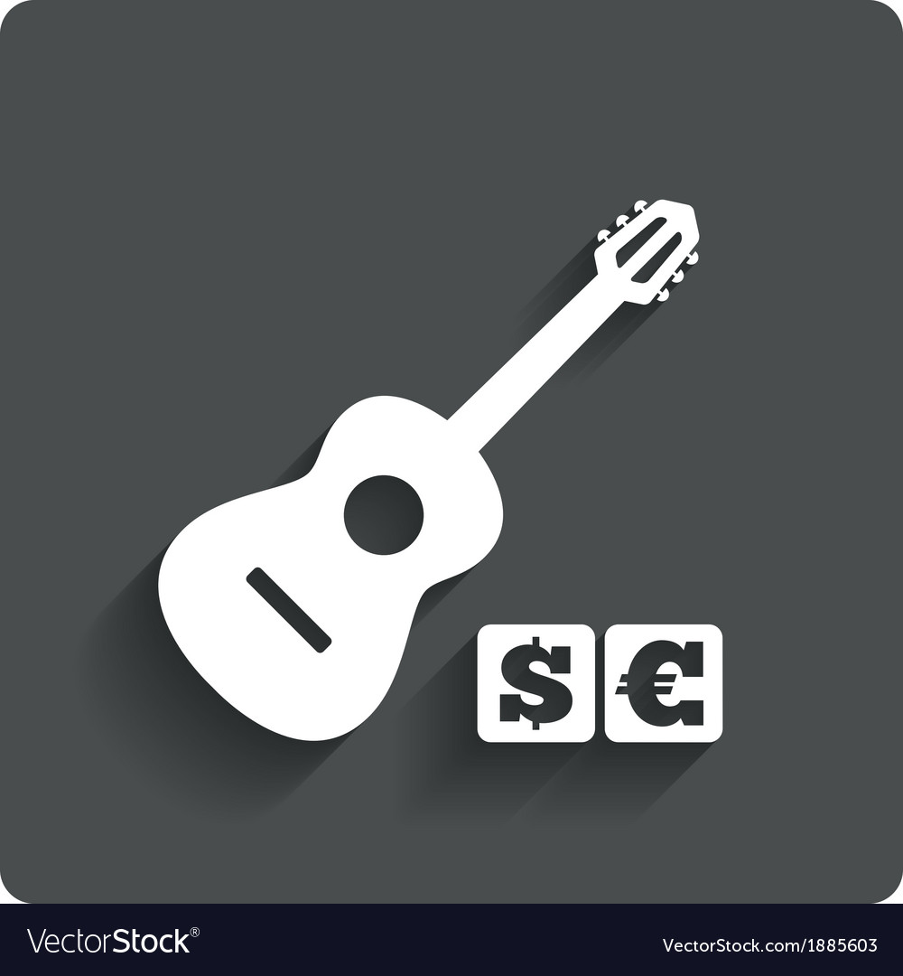 Paid Music Icon Acoustic Guitar Music Symbol Vector Image