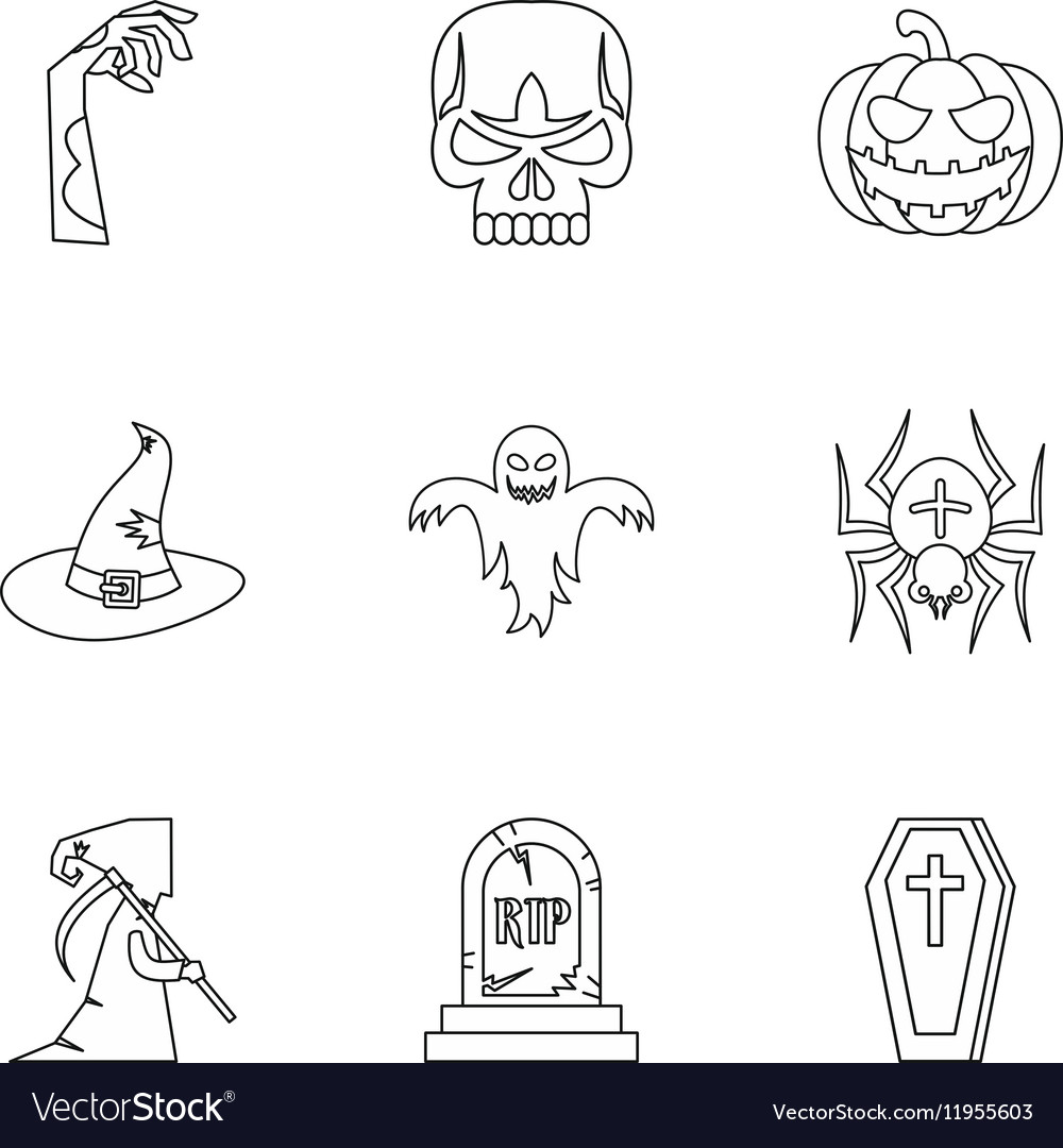 Resurrection of dead icons set outline style