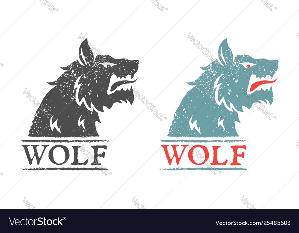 Vintage emblem with angry wolf