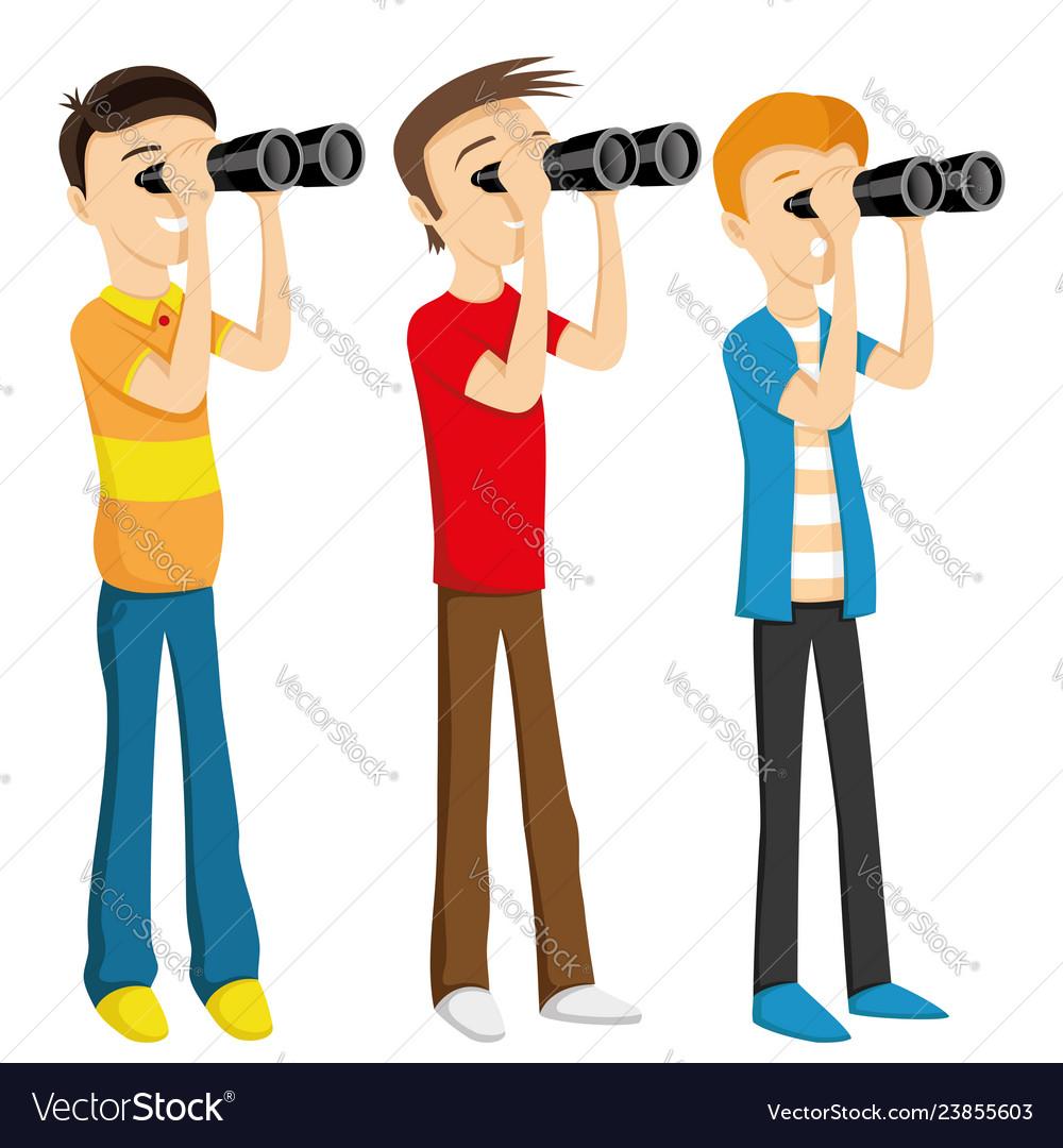 Young People Looking Through Binoculars Royalty Free Vector