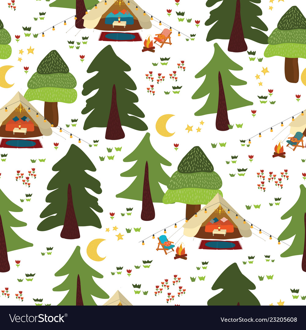 Camping outdoor scene seamless background