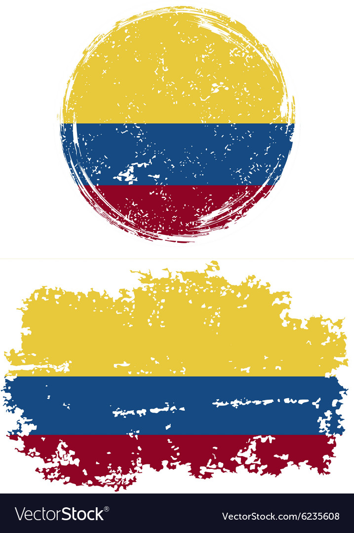 Colombian round and square grunge flags