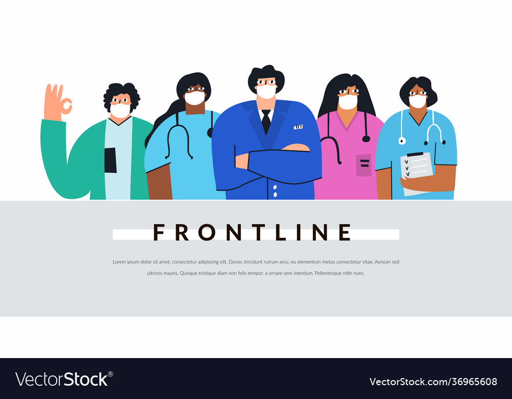 Diverse group doctors and nurses with face