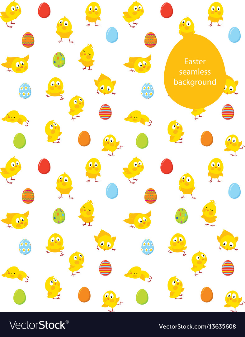 Easter seamless pattern chicks and eggs