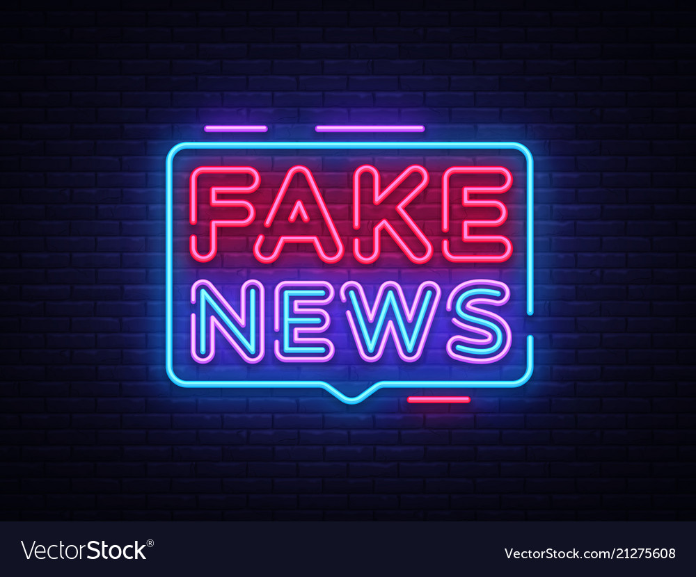 Fake news neon sign breaking news design