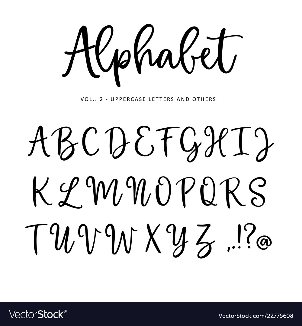 Hand drawn alphabet font isolated letters