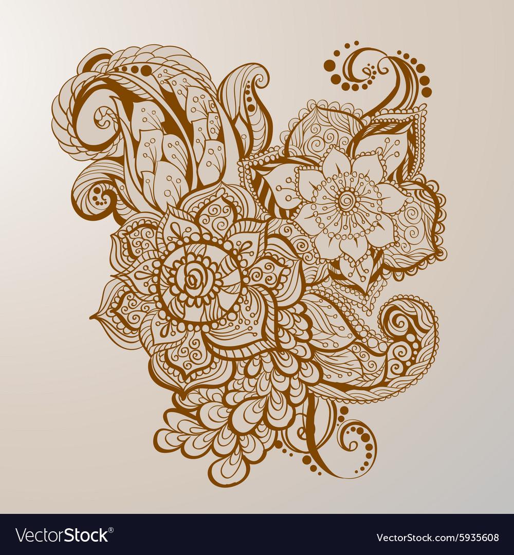 Hand Drawn Henna Tattoo Art Royalty Free Vector Image