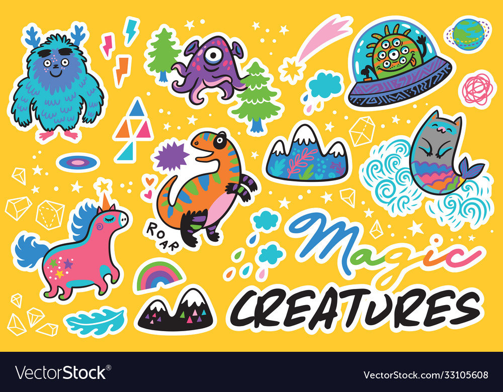 Magic creatures sticker set