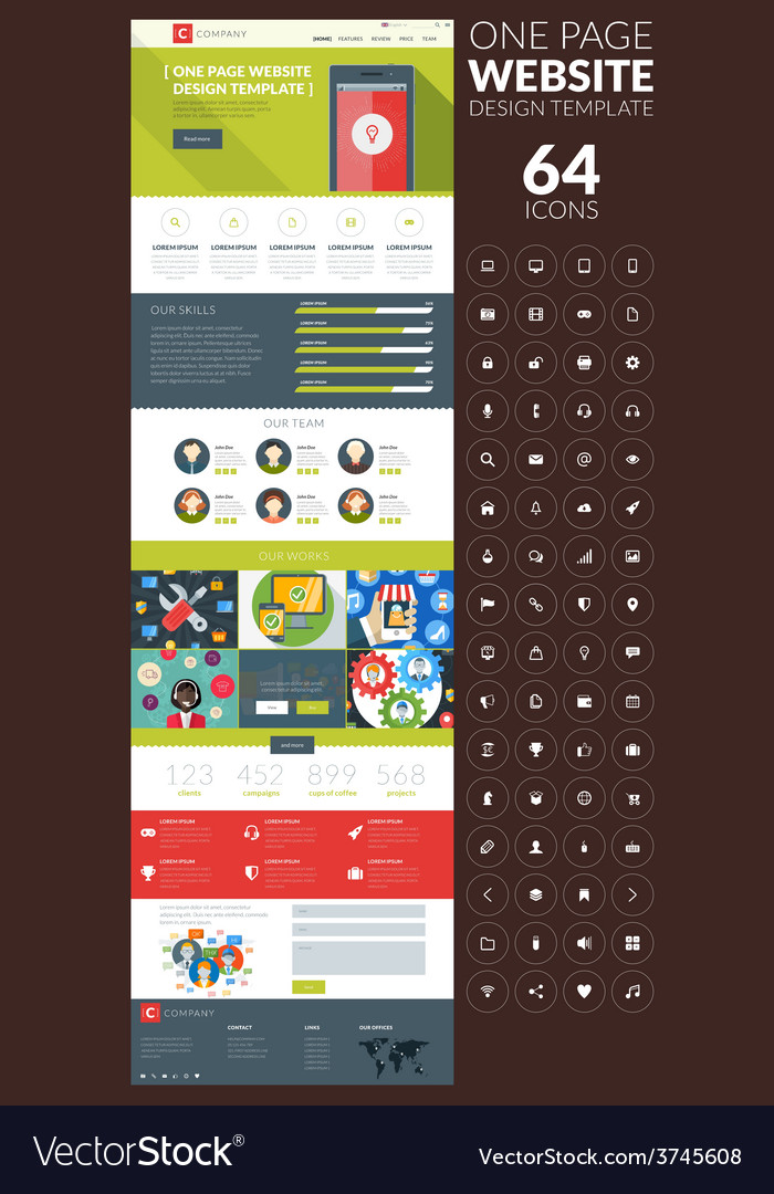 One page website template in flat style with icon