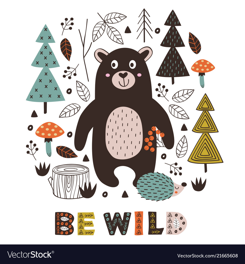 Poster bear and hedgehog in forest