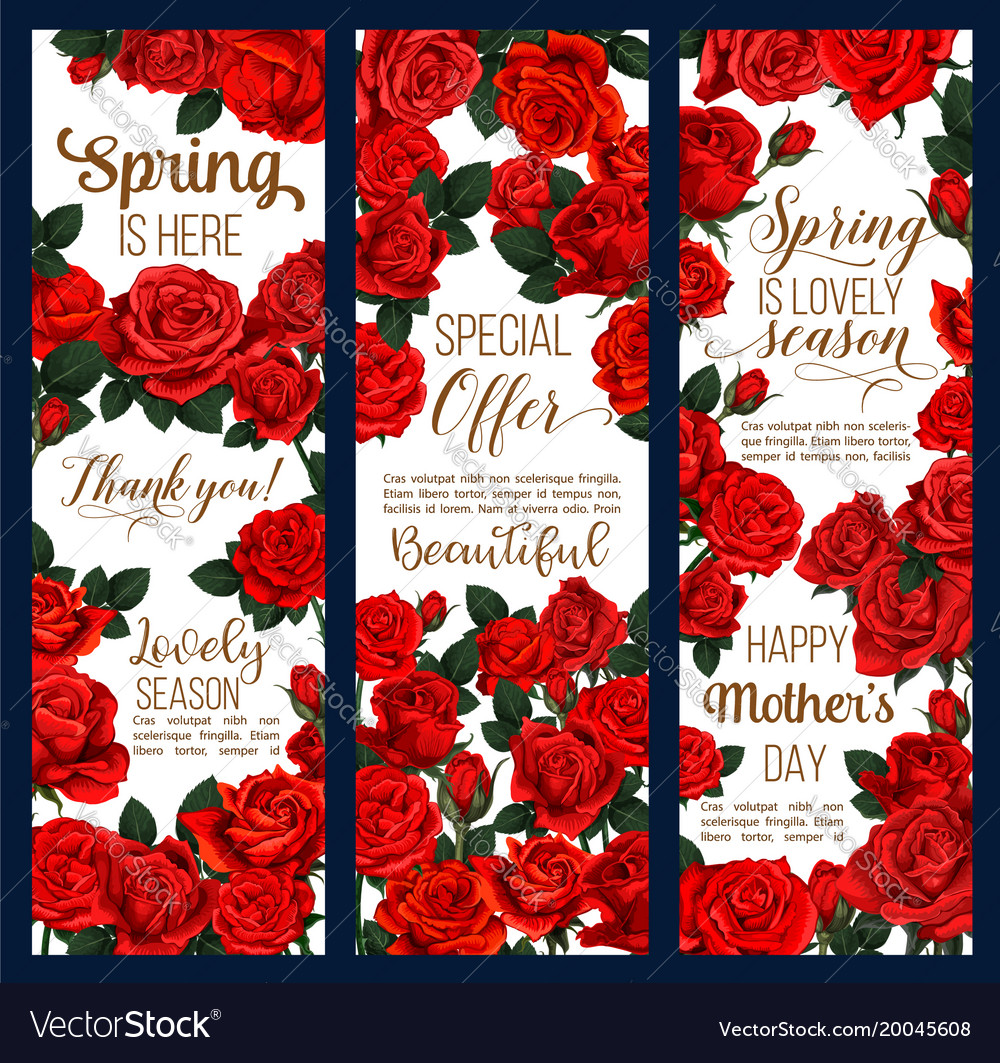 Spring flowers mother day greeting banners