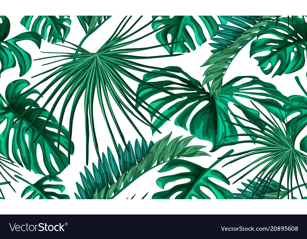 Tropical Leaves Summer Seamless Pattern Royalty Free Vector Awesome Tropical Leaves Pattern