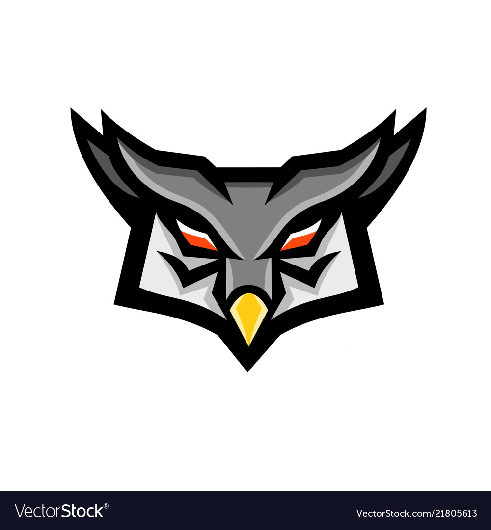 Angry horned owl head front mascot