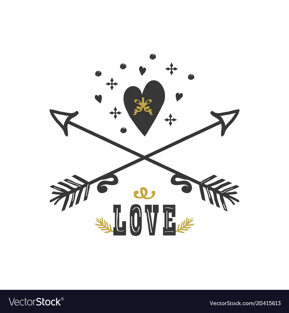 Black and golden hand drawn heart and arrows