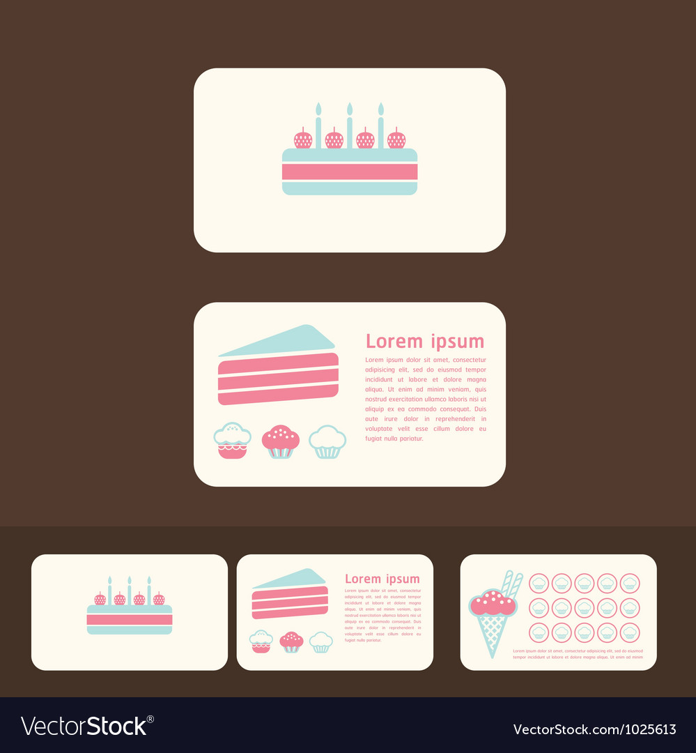 Cakes business cards and promotional cards vector image colourmoves